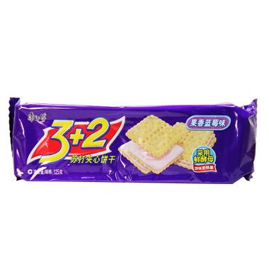 康师傅3+2苏打夹心饼干果香蓝莓味 3606 125g/袋