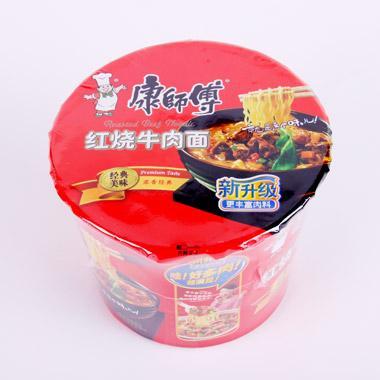 康师傅 泡面 方便面 开心桶红烧牛肉面 103g/桶 0777
