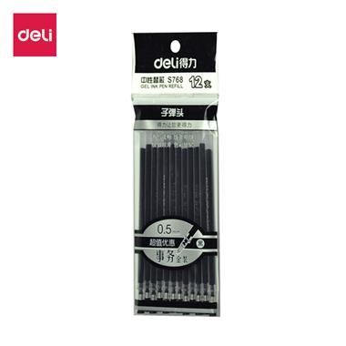【中性笔笔芯】得力0.5mm黑色子弹头中性笔芯 12支/袋 S768  7680