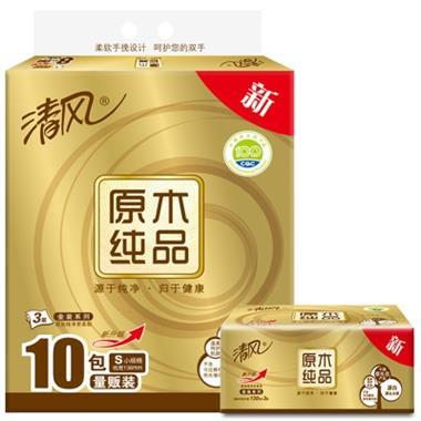 清风金装原木面巾纸 BRA5SJ1 3层130抽*10包/提 0389