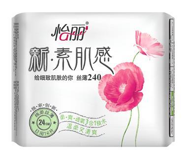 怡丽 新素肌棉柔丝薄 日用卫生巾 24cm 16片/包 1987
