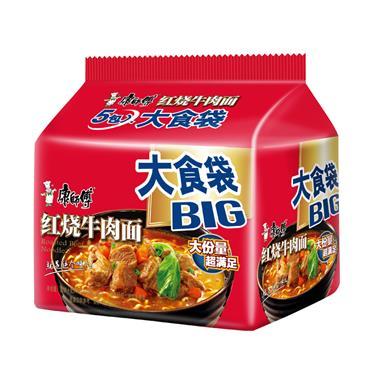 康师傅 泡面 方便面 大食袋红烧牛肉五连包 145g*5包/袋  1517
