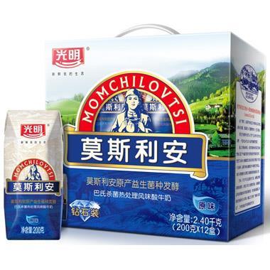 光明莫斯利安钻石包巴氏杀菌酸牛奶(原味) 200g*12盒/提 4301