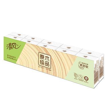 清风原木纯品迷你包3层手帕纸10张/包*10包/条 B66AC1M3  7632