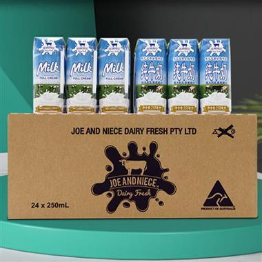 【澳大利亚】乔恩尼斯全脂纯牛奶250ml*24盒/箱 00317